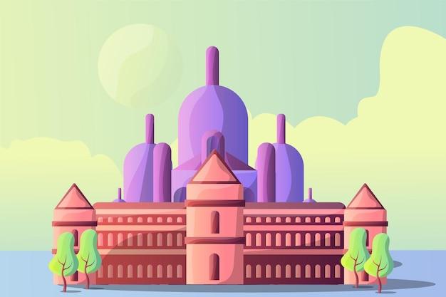 Montmartre I Pałac Wersalski Krajobraz Ilustracji Dla Atrakcji Turystycznych Premium Wektorów