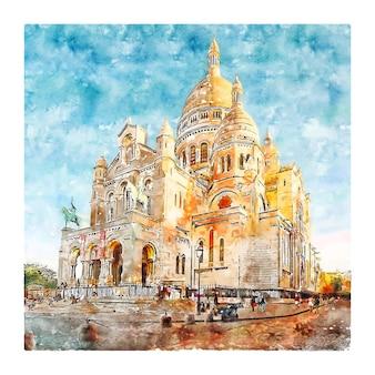 Montmartre paryż francja szkic akwarela ręcznie rysowane ilustracji