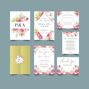 Moody akwarela kwiatowy zaproszenia ślubne