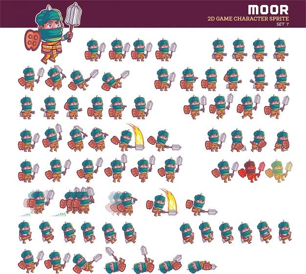 Moor warrior cartoon sprite animacja postaci