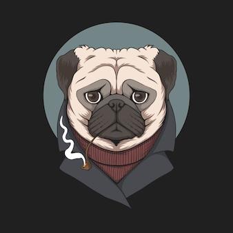 Mops pies fajka ilustracja