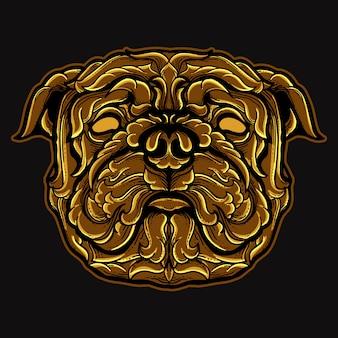 Mops pies głowa złoty grawerowany ornament