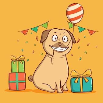 Mops pies na przyjęciu urodzinowym. kartkę z życzeniami wszystkiego najlepszego