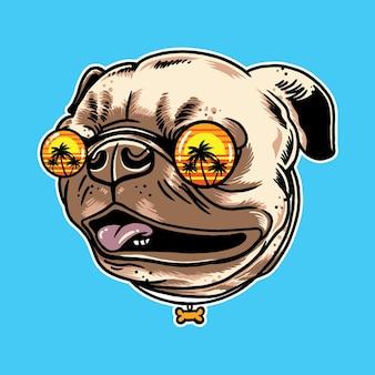 Mops pies nosi letnie okulary przeciwsłoneczne na białym tle