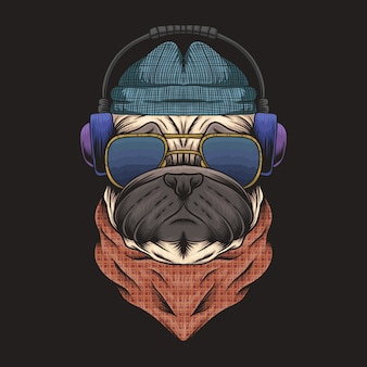 Mops pies słuchawki