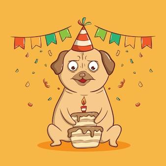 Mops pies trzyma tort urodzinowy. kartkę z życzeniami wszystkiego najlepszego