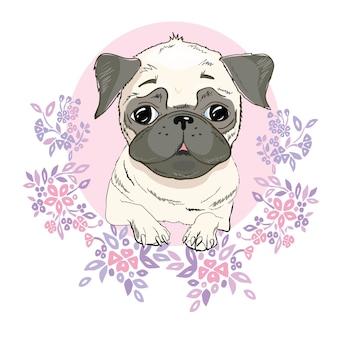 Mops pies twarz - ilustracja wektorowa na białym tle