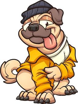Mops pies ubrany w żółtą kurtkę i robiący znak pokoju