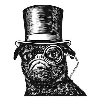 Mops pies w cylindrze i monokl czarno-biały ilustracja szkic sztuki