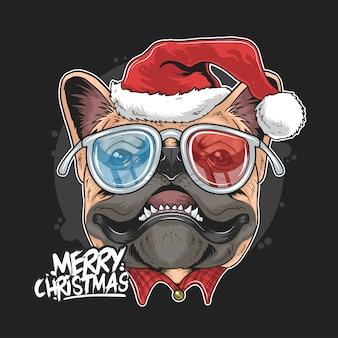 Mops szczenięta santa claus boże narodzenie świąteczne twarze