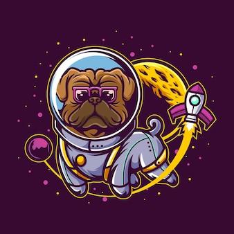 Mops w kostiumie astronauty
