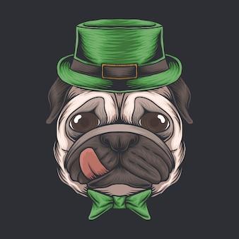 Mopsowa głowa psa na dzień świętego patryka