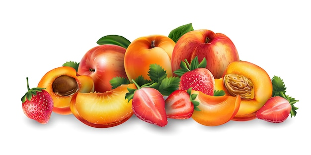 Morela, brzoskwinia i truskawka
