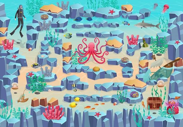 Morska gra labirynt dla dzieci. pomóż nurkowi dopłynąć do klatki piersiowej, unikając żabnicy, rekina i ośmiornicy.