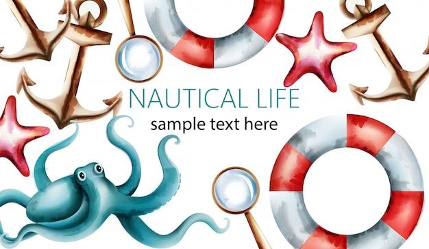Morska karta akwarela z rozgwiazdą, muszlą, ośmiornicą, kotwicą, lupą i ratownikiem
