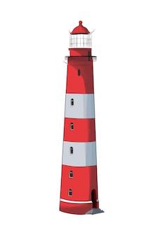 Morska latarnia morska z wielokolorowych farb splash realistycznego rysunku w kolorze akwareli