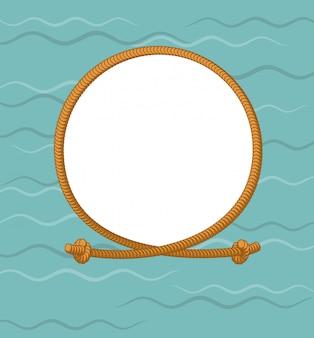 Morska okrągła rama z liną. gruba lina i węzły. ramka do zdjęć węzłów