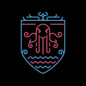 Morska ośmiornica monoline maskotka w wyciągnąć rękę
