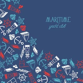 Morski kolorowy plakat klubu jachtowego podzielony na dwie części