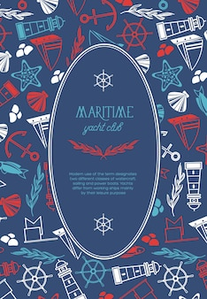 Morski owalny plakat klubu jachtowego podzielony na dwie części