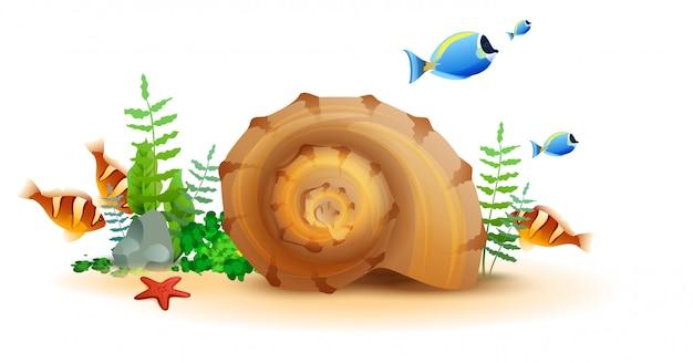 Morski podwodny świat ryb, rozgwiazdy, ślimaka