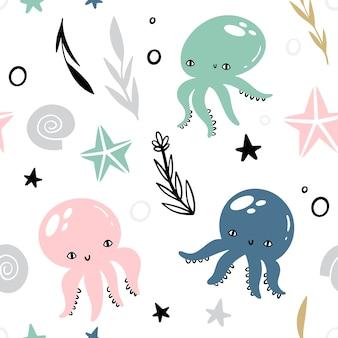 Morski wektorowy bezszwowy wzór z zwierzętami i roślinami