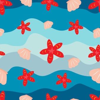 Morski wzór bez szwu tekstury z falami muszle i rozgwiazdy wektor