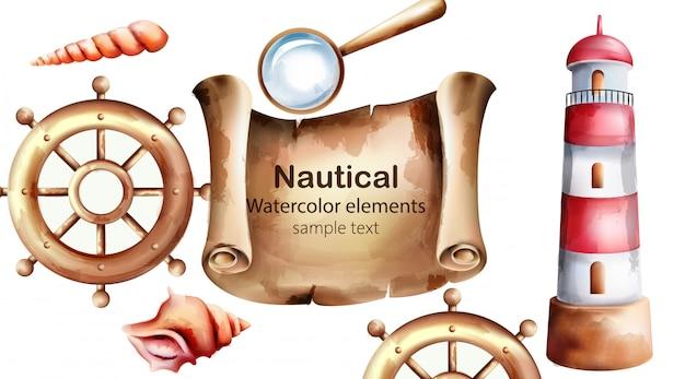 Morskie elementy akwarela z mapą skarbów, latarnią morską, kołem łodzi, muszli i lupy