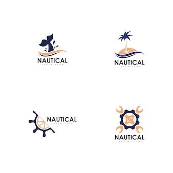 Morskie logo wektor zestaw