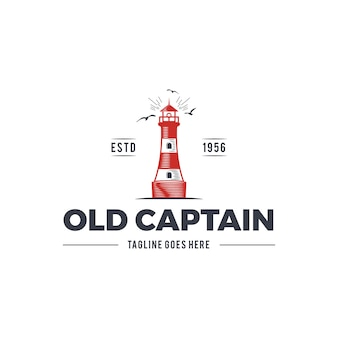 Morskie logo z latarnią morską i tekstem - stary kapitan