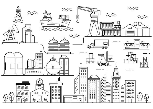 Morskie miasto miejskie grafika liniowa