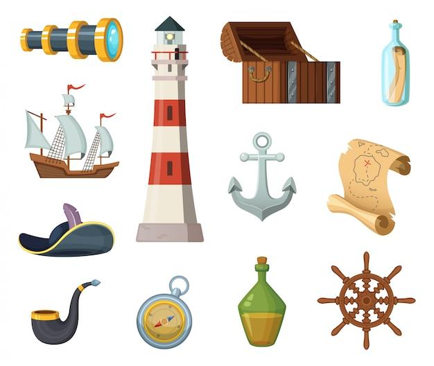 Morskie obiekty wektorowe. klatka piersiowa, kompas, mapa skarbów i inne przedmioty w stylu kreskówki