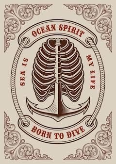 Morskie plakat vintage z kotwicą i żebrami na białym tle