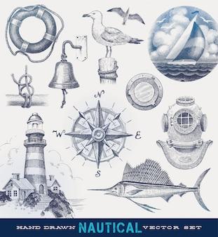 Morskie ręcznie rysowane wektor zestaw