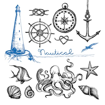 Morskie ręcznie rysowane zestaw