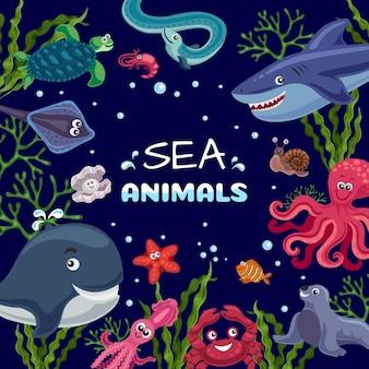 Morskie rośliny zwierzęta śmieszne podwodne życie kwadratowa ramka z uśmiechniętą ośmiornicą rybą rekin wieloryb