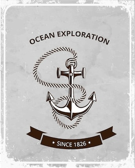 Morskie symbole logo na tle retro grunge, kotwica z liną i baner z miejscem na tekst.