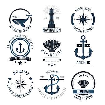 Morskie vintage etykiety i ikony.
