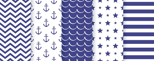 Morskie wzór. marine set blue sea summer prints. geometryczna tekstura.