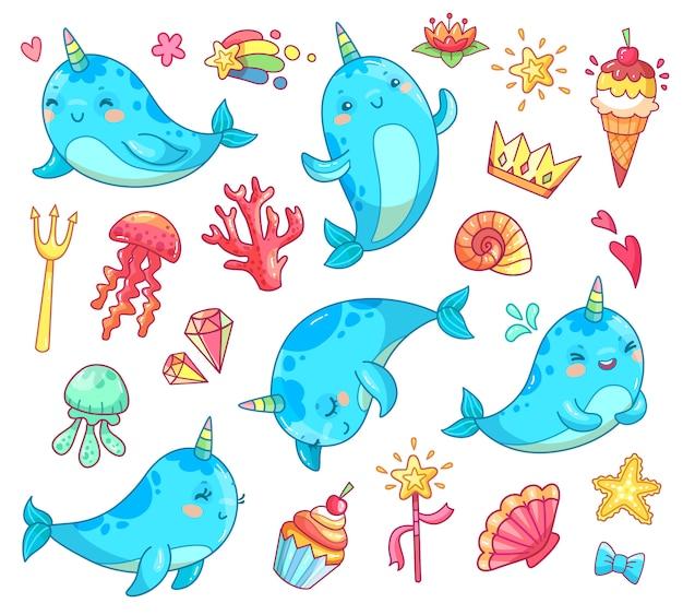 Morskie zwierzę kawaii postać dziecko bajkowe jednorożec narwhal.