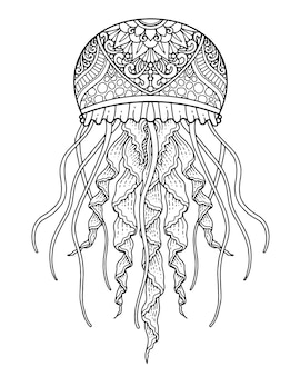 Morskie życie kolorowanie ilustracji i projekt wydruku