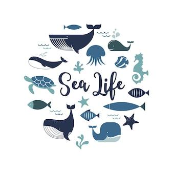Morskie życie wieloryby delfiny ikony i ilustracje projekt plakatu