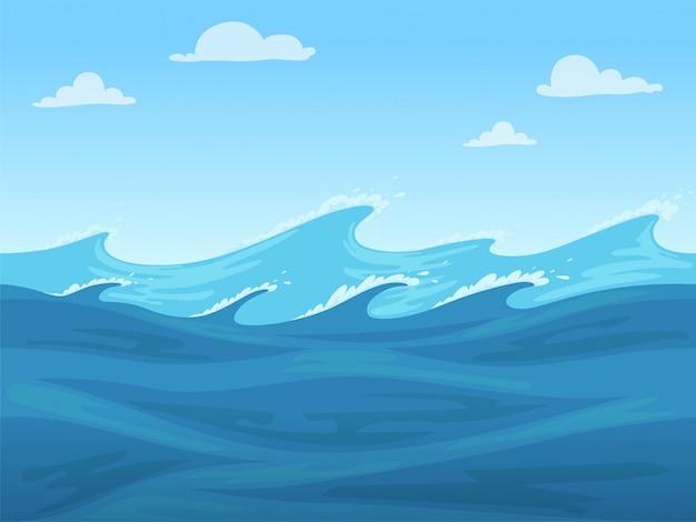 Morze bez szwu gry. niebieski płynnej powierzchni oceanu lub rzeki 2d bez szwu krajobraz