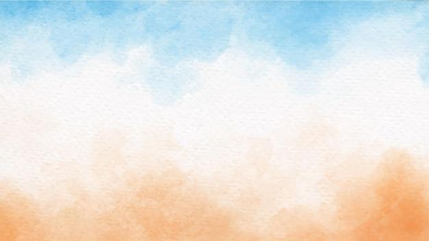 Morze błękitne niebo i piasek na plaży w tle akwarela