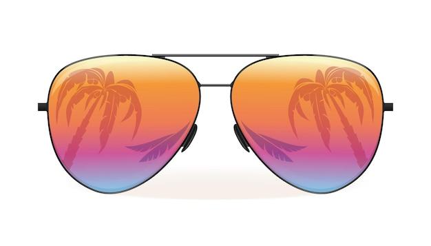 Morze i palmy odbijają się w okularach przeciwsłonecznych. letni projekt. ilustracja wektorowa na białym tle