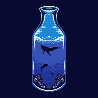 Morze na ilustracji butelki