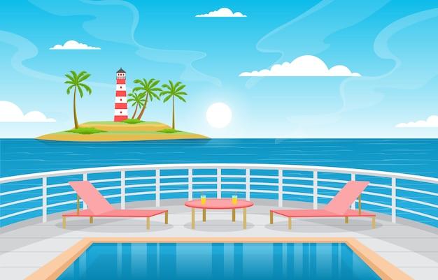 Morze ocean krajobraz pejzaż basen na ilustracja statek wycieczkowy