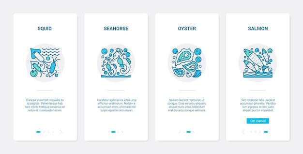 Morze oceaniczne ryby skorupiaki podwodne sealife ux ui onboarding zestaw ekranów strony aplikacji mobilnej