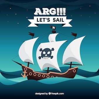 Morze tła z piratem statku