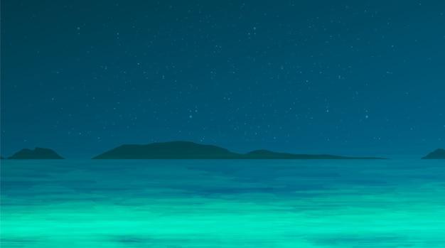 Morze w nocy żaby na niebieskim tle w nocy, koncepcja komiks kreskówka